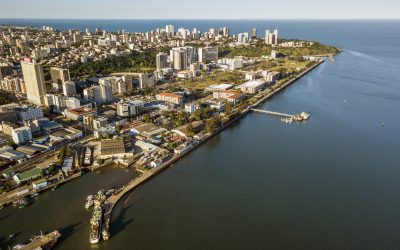 Aerial view of downtown of Maputo, capital city of Mozambique, Africa